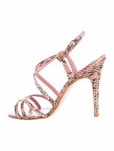 Nuevo Manolo Blahnik Exótico Serpiente Gris Rosa Malva Tiras Sandalias BB Shoes