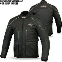 Mens Motorcycle Waterproof Cordura Textile Jacket Motorbike Armours BLACK