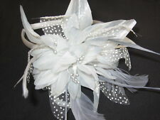 Party/Wedding Silver Grey Large Flower & Feather Fascinator Aliceband/Headband