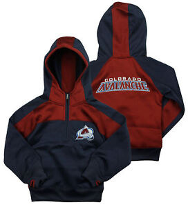 Reebok NHL Youth Girl's Colorado Avalanche 1/4 Zip Active Pullover Hoodie, Navy