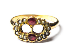 Antique 9k Yellow Gold Ruby & Pearl Figure 8 Cluster Rings Size 5