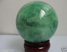 64MM Glow In The Dark Natural Green Fluorite Magic Crystal Healing Ball+Stand