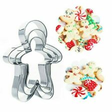 3 Pc Stainless Steel Gingerbread Cutter Man Christmas Cake Cookie Cutter