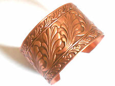 NEW PURE Copper Adjustable Scroll design Wide Cuff Bracelet Pain Relief Folklore