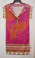 Diane Von Furstenberg Pink Print Split Neck Shift Silk Dress Size 6