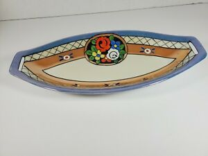 Vintage Hand Painted Japanese Serving Dish Tray. 11.5 x 5 oblong. Open at ends.