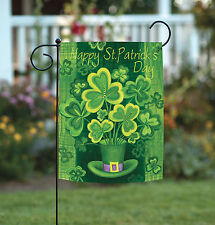 Toland Shamrockin' 12.5 x 18 Happy St Patricks Day Clover Hat Garden Flag