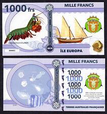 RARE ★ ILE EUROPA ● TAAF / COLONIE ● BILLET POLYMER 1000 FRANCS ★ N.SERIE 000002