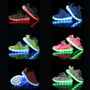 Boys/Girls USB Charging LED Light Luminous Laces Shoes Kids Flashing Sneakers