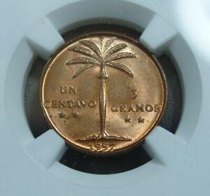 1957 Dominican Republic 1 Centavo.  KM-17.  NGC MS 65 RD
