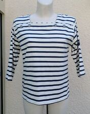 Haut Style Marin  Mi Manches Blanc Rayures Bleu Enbata Taille 40