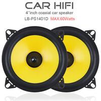 4 inch 60W 2-Way Full Frequency Car Audio Stereo Speaker Yellow PAIR Loudspeaker