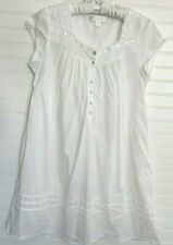 Eileen West White Cotton Nightgown Cap Sleeve Lace Button Front Size S