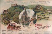 AK Gruss aus dem Thüringer Land. Erfurt. Wartburg. Litho um 1900: Postkarte