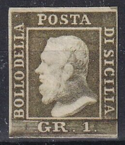 1859 SICILIA N.5 VERDE OLIVA CHAIRO III TAVOLA POS.1 SPL RR FIRMA CARDILLO