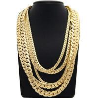 """Mens Miami Cuban link Chain Necklace Bracelet 8"""" 20"""" 22"""" 24"""" 26"""" 30"""" inch"""