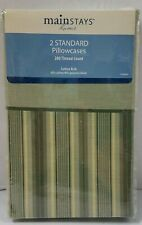Lot of 2 Mainstays Green Stripe Pillowcases Pillowcase Standard/Queen Size