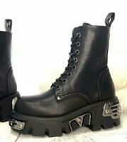 Gothic Combat Boots Women High Top Real  Leather Motorcycle Boots Lace Up Shoes