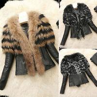 Retro Women Fur Collar Winter Warm Coat Leather Jacket Overcoat Parka Outerwear