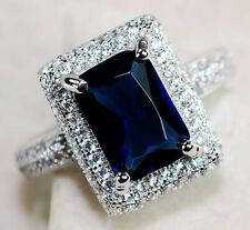 5CT Blue Sapphire & Topaz 925 Sterling Silver Ring Jewelry Sz 6, M3