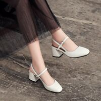 Womens Round Toe Slingback Casual Block Mid Heels Fashion Leather Shoes Pumps