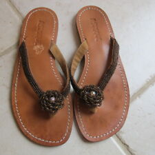 Mystique Brown Beaded Thong /Flip Flop sandal. Size 7. Very Good condition.