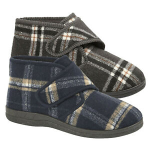 Mens Bootie Slippers Warm Fleece Lining Winter Ankle Touch Strap Boots Shoe Size
