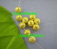 50 x spacer beads balls round hollow cage gold plated metal alloy 8mm filigree