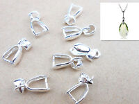 10 pcs Sterling Silver Findings Bail Connector Bale Pinch Clasp Pendant drop DIY