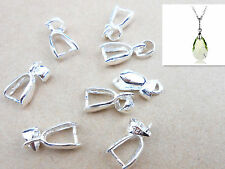 Solid Sterling Silver Bail Pinch Pendant Clasp Connector Holder 10 PC