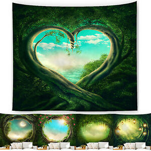 Fantasy Forest Scenery Tapestry Wall Hanging Blanket Bedspread Cover Beach Mat