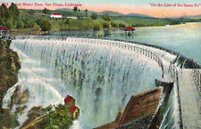 """Postcard-Water Dam, San DIego Ca """"on the line of the Santa Fe"""" #3814"""