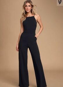 Lulu Something To Behold Black Jumpsuit Size Small Spaghetti Strap, Backless