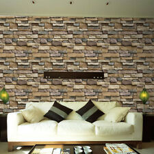 3D Wall Paper Brick Stone Rustic Effect Self-adhesive Wall Sticker Home Decor S~