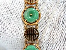 1950's Estate Natural Jade Chinese Symbol bracelet 14kt
