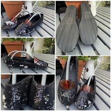 new look sparkle ballerina shoes pumps black/silver size 5 flats slip on new