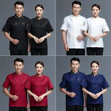 Unisex Chef Coat Classic Short Sleeve Chef Jacket for Restaurant Canteen Kitchen