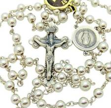 MRT Miraculous Mary Rosary Sterling Silver Crucifix & Center wSilver Plate Beads