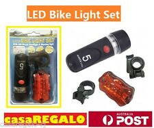 2 x Bike Light Head + Rear Safety Alarm Set Bicycle White Beam 5 LED Flashlight
