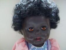 Vintage Black 18 inch Hard Plastic Rosebud Baby Doll 1950s Black Curly Hair FAB
