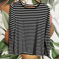 Chicos The Ultimate Tee Shirt Size M Medium Striped Black & White Long Sleeve
