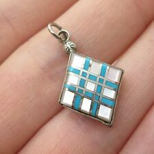925 Sterling Silver Real Mother-Of-Pearl Turquoise Gemstone Inlay Pendant