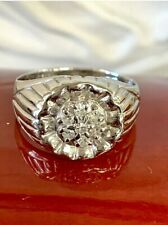Vintage 14k White Gold Natural Men's Round Diamond Cluster Ring .20CT Sz.10.25