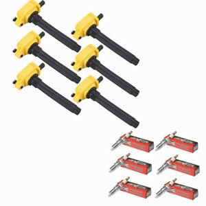 Yellow UF648 Ignition Coil + Spark Plugs for Chrysler Dodge Jeep Ram 3.2/3.6L V6