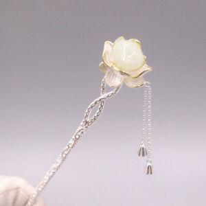 S925 Sterling Silver Hairpin Jade Lotus Flower Women Hair Accessories 20-22g