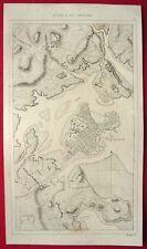 BOSTON HARBOR ANTIQUE MAP MASSACHUSETTS USA 1837 KARTE VON BOSTON HAFEN