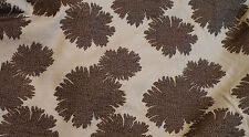 Drapery/Upholstery Weight Off-White Brown Floral Fabric-4+YDs