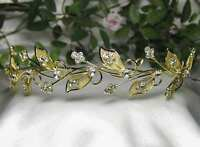 Dragonfly Austrian Rhinestone Crystal Bead Tiara Hair Crown Headband Gold T090