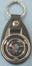 Vintage Black Ford MUSTANG Mini Steering Wheel Black Leather Keyring Key Fob