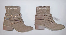 ANKLE BOOTS – FASHION - KHAKI SUEDE - STRAPS – STUDS - BUCKLES - SIZE 6 –NWT $45